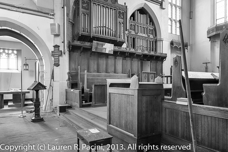 Organ pipes, Lectern and Communion Table