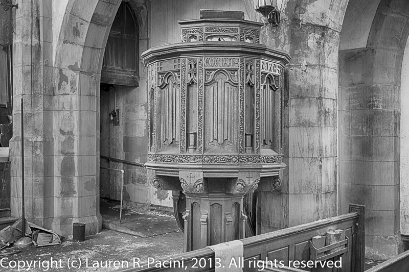 The beautifully detailed pulpit