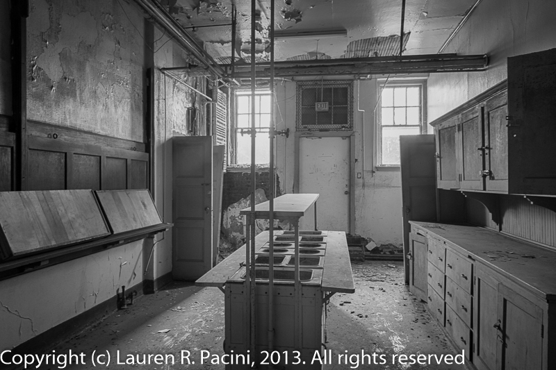 The serving room in the basement of the Parish House